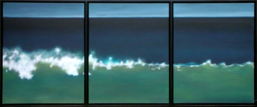 One of my handful of favorite paintings ever. The divided frame serves to remind that  this is a painting, so that you can be both in the moment of the wave and enjoying the abstraction of the piece..