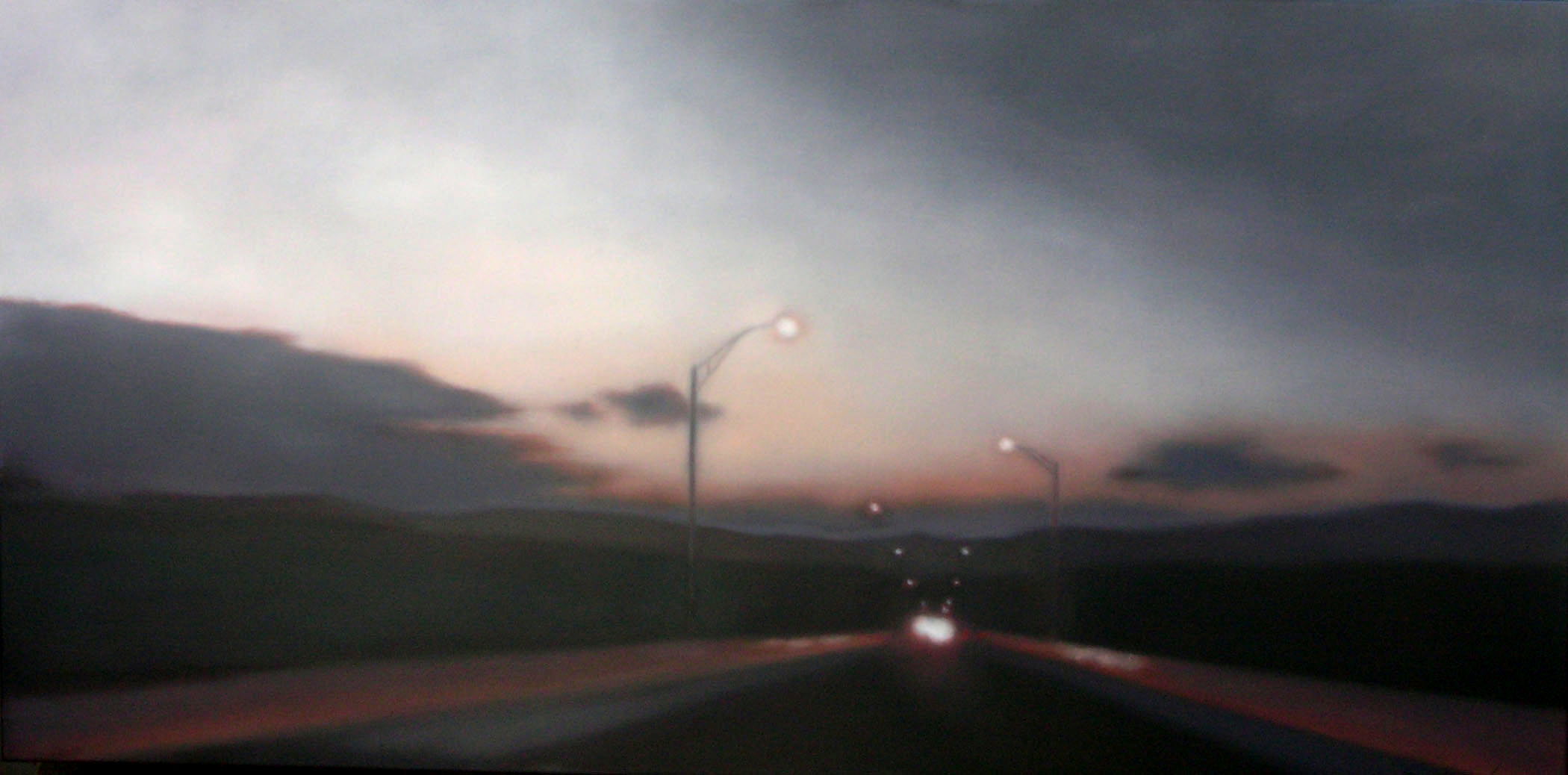 "Crossing at Dusk, 24""X48"", (TGG)."