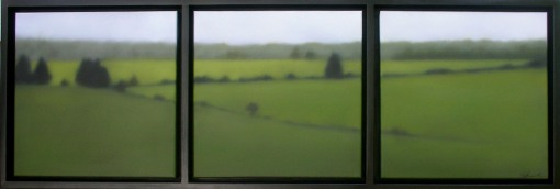 "Favorite Field/Soft Greens, 3 panels of 12""X12""/ea., $3,200. (CRG)"