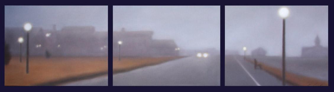 "Oak Bluffs Morning Fog, 3 panels of 14""x18""/ea., $5,000. (DG)"