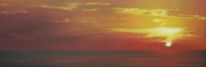 "Sunset Sea in Red/Gold, 20""x60"", $6,500."