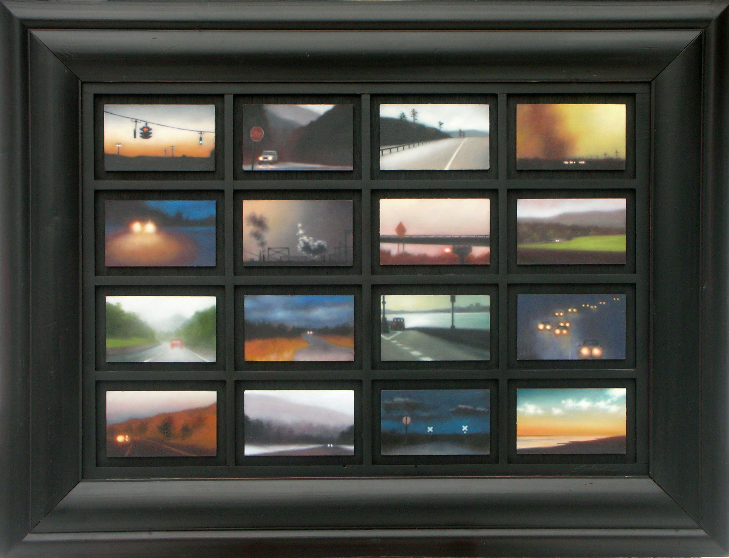 "Trove: From the Road, 16 paintings of 3""X5""/ea., 22""X28"" framed.."