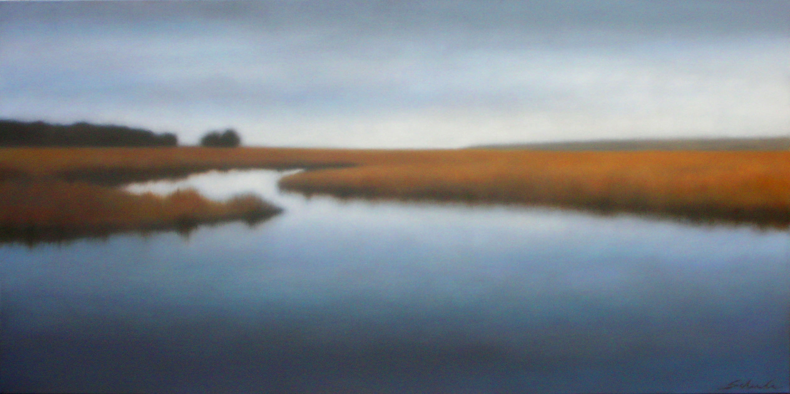 """October Saltmarsh"", 24""X48"", looked so perfect  where we hung it that it ended up staying."
