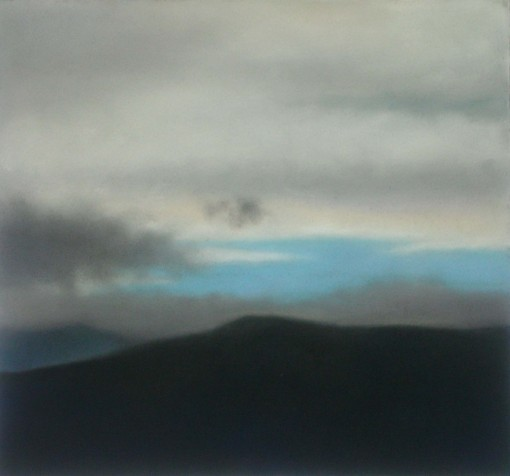 "Moody Mountain Sky, 12""X13"", $1,200 (uf)."