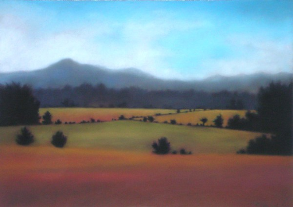 "Mountain Fields, pastel on paper, 20""X24"", $2,500."