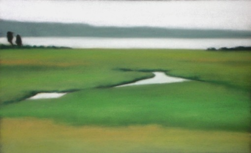 "Saltmarsh in Greens, 10""X20"""