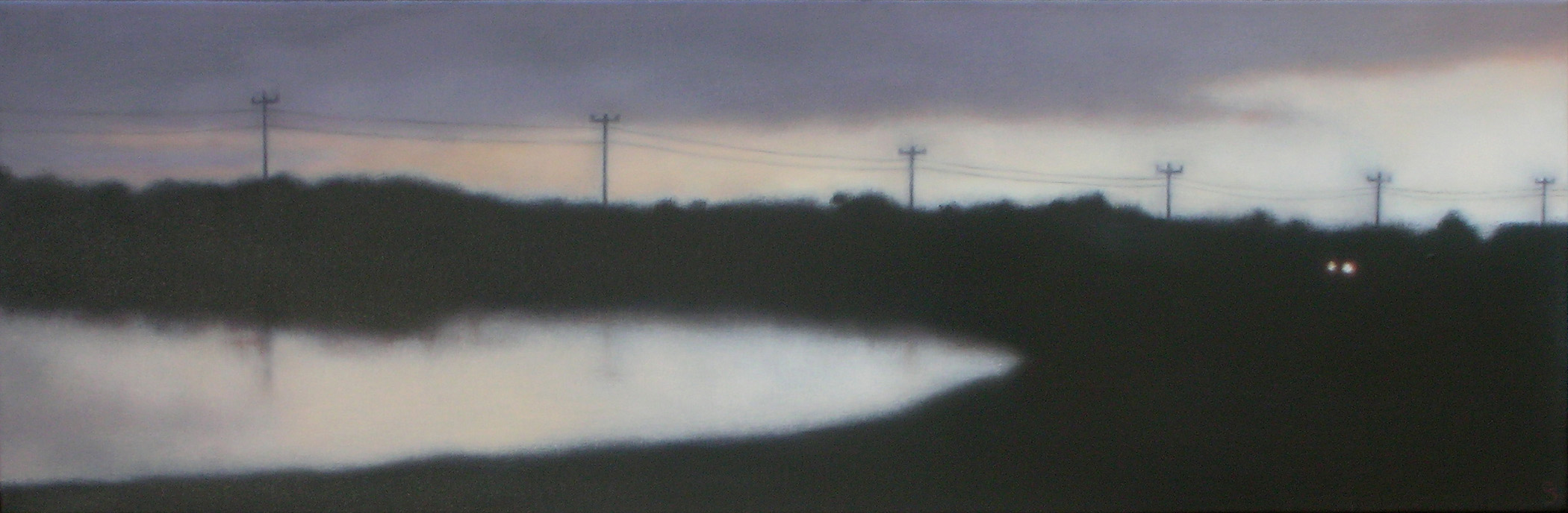 "Evening Headlights, 10""X30""."