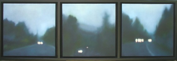 """Rainy Road/Fireflies"", 3 panels of 12""x12""/ea. (sold)"