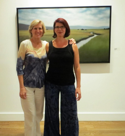 """Me with my childhood friend Dana at Gold Gallery in front of Field Unfiolding, 36""""x60"""", also now happily installed in its new home."""
