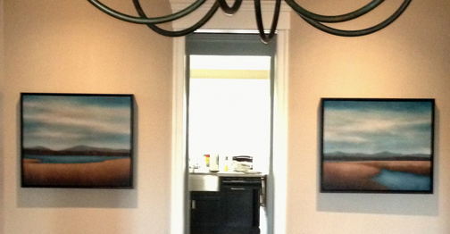 The two paintings, basically a diptych but not quite, installed.