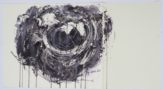 "Enso Nest, Ink on paper, 33""x18""."