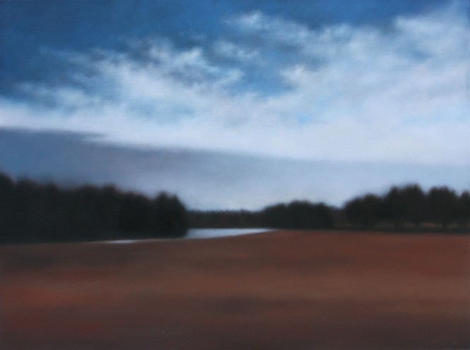 "Riverglimpse in December, 36""x48"", 2012."