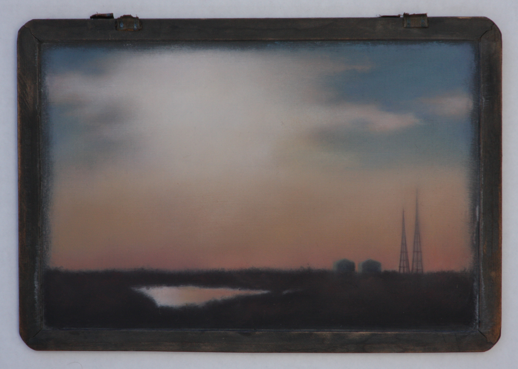 """Gleam over Meadowlands"", oil on vintage blackboard, 9.5""x13""."