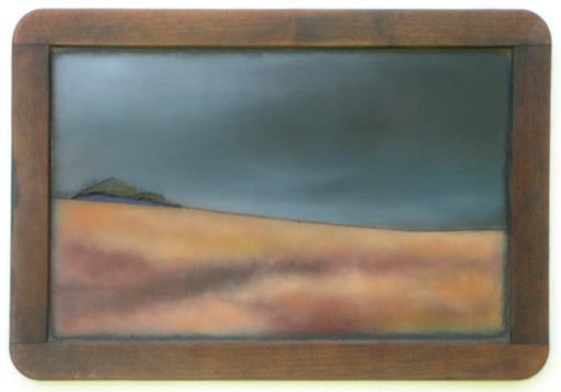 """Hilltop Contour"", oil on a vintage child's slate. (Courtesy JHG)"
