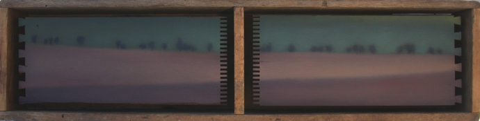 """Red/Green Fields"", oil on drawer slats in antique box, 7.5""x30""."