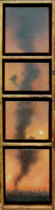 """Smoke in Four"",  a distressed, compartmentalized box that was a lucky find. (Sold by ANG)"