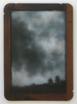 """Smokey Sky"", oil on a child's vintage slate, hanging in my downstairs bathroom."
