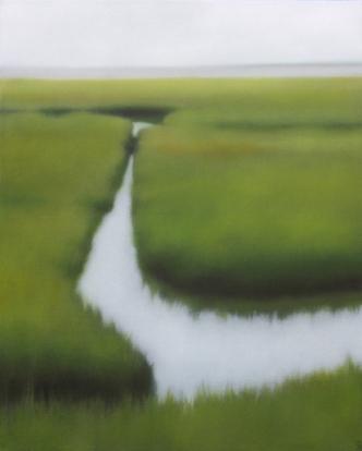 """Sundrenched Saltmarsh, 20""""x16"""", $2,000, 2013. (JHG)"""
