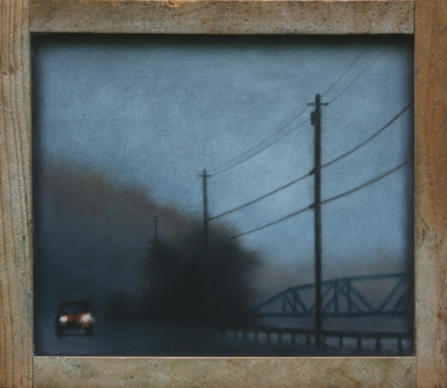 """Approach,"" oil on vintage blackboard, 11""x13.5"". (Sold by Chace-Randall Gallery.)"