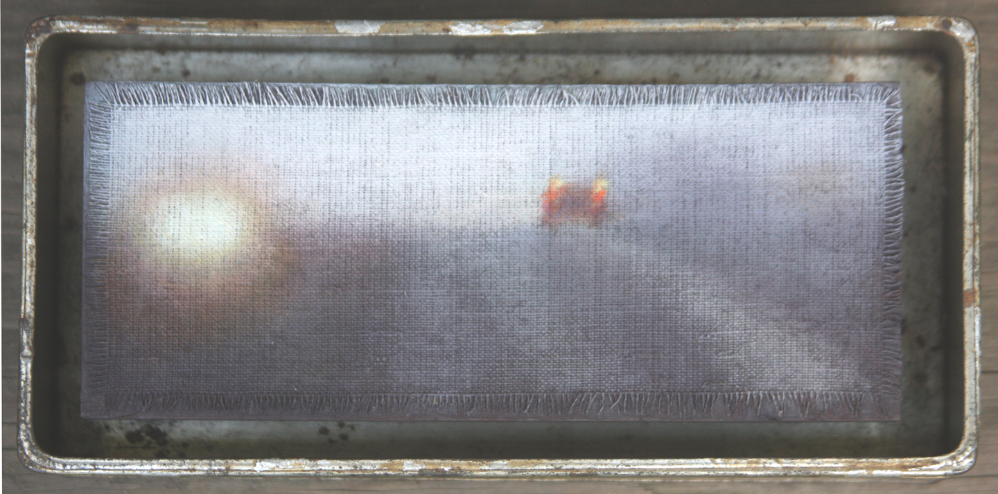 "Rainy Road/Metal Box, 4.5""x9""."
