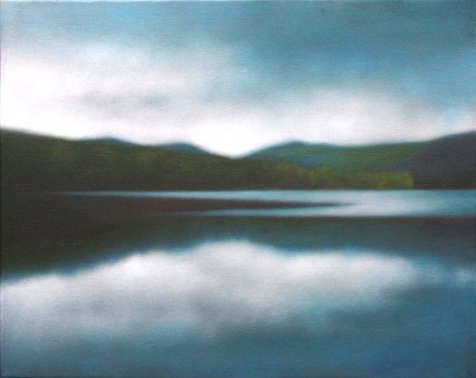"""Memory's Waters"", 16""x20"", Cooper Lake in summer blue/greens."