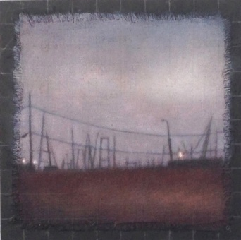 """Affinity/Boatyard, 10""""x10"""", 2014, oil on linen with frayed edges on board overlaid with graphite lines."""