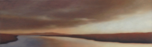 "Sunset River Expanse"", 20""x62"". (Sold by Albert Shahinian Fine Art.)"