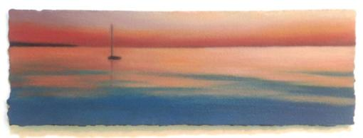 """Sunset Sea with Sailboat"", 5""x14"", oil on paper. (Sold by the Julie Heller Gallery.)"