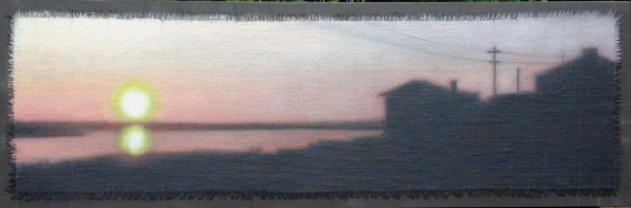 """""""Affinity/Sunset Reflected"""", 12""""x36"""". Oil on linen with frayed edges overlaid with graphite gridding."""