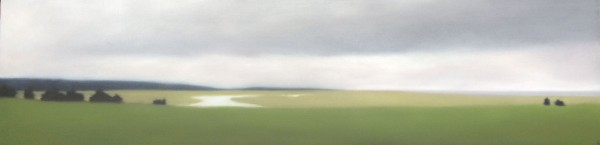 """Green Horizons"", 12""x48"", oil on canvas."