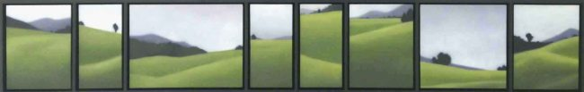 """Green Waves, oil on canvas, 14""""X82"""" framed."""