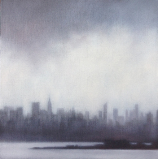 """Skyline with Lifting Rain"", 20""X20"", oil on linen."