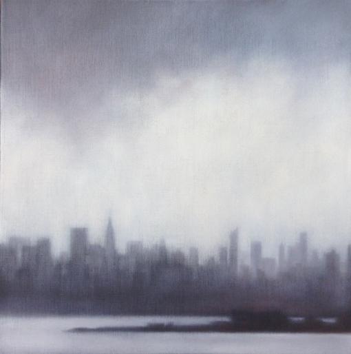 """""""Skyline with Lifting Rain"""", 20""""X20"""", oil on linen."""