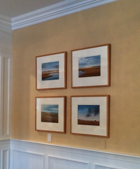 Installation shot of four pastels commissioned through Megan p eter Fine Art.