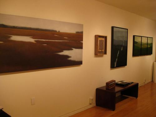 Installation shot, wall with postcard piece.