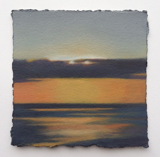 """Study/Sunset Sea"", 5""x5"", oil on primed paper."