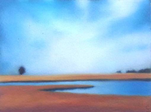 "Study/Glowing Sky over Fall Marsh, 6""x8""."