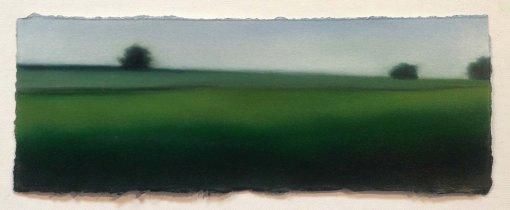 "Study/Green Fields, 5""x13""."