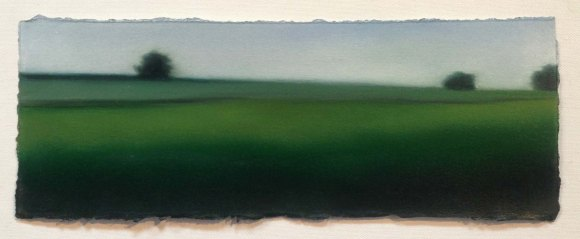"Study/Green Fields, 5""x13""."