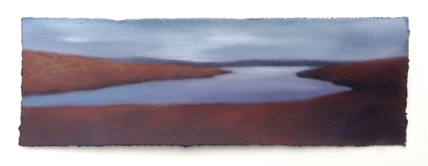 "Study?Reservoir from Little Mountain, 4""x12""."