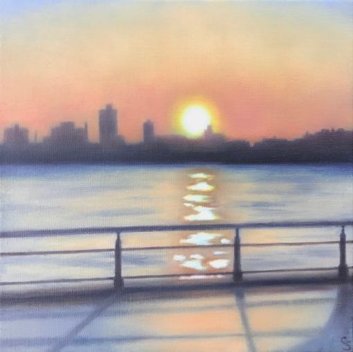 "2 Shores/Reflected Sun, 12""x12""."