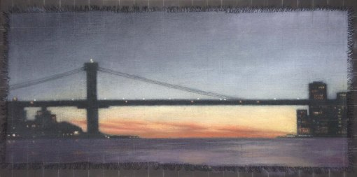 "Affinity/Bridge at Sunset, 12""x24""."