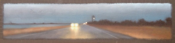 """Affinity/Drive at Dusk, oil on linen with frayed edges on board overlaid with graphite gridding, 12""""x48"""", $3,600."""