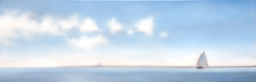 "Harbor with Blues, 12""X36""."