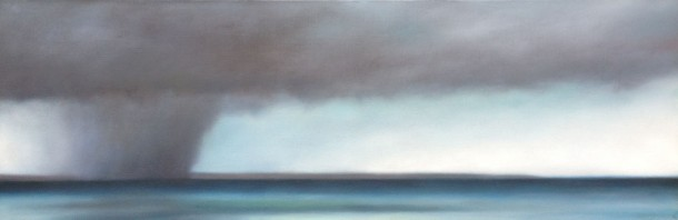 "Moving Storm/Turquoise Sea, 22""x62""."