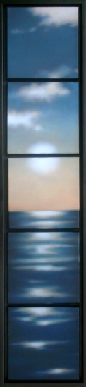 "Seablues with Sun, five panels of 8""x8""/ea.; 40""x8 overall."