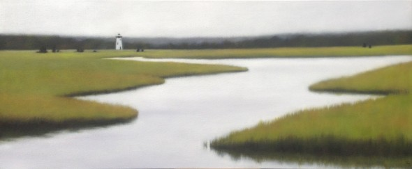 """Summer Marsh with Lighthouse, 22""""x50""""."""