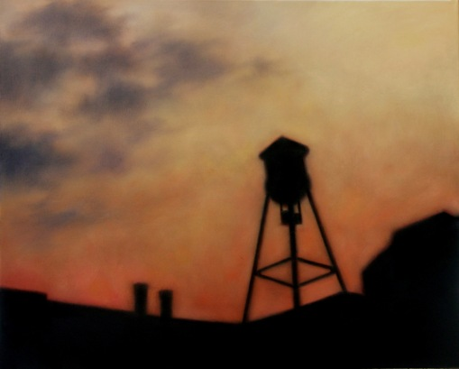 "Sunset Roofline, 24""x23""."