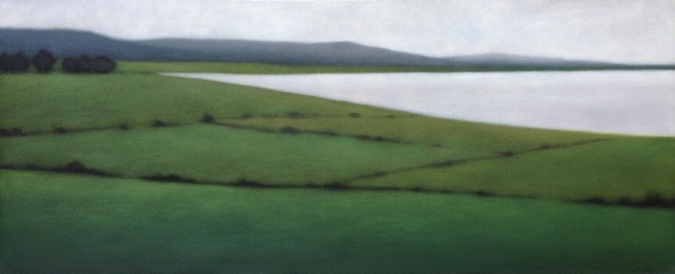 "Sweeping Greens/Jostling Trees, 28""x68"", $7,500."