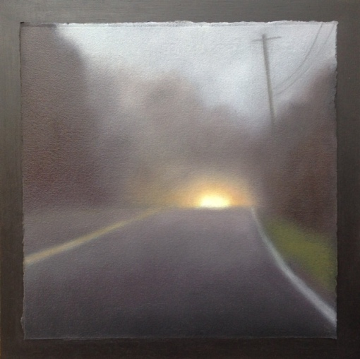 "Traveling Fog, 12""x12"" mounted on 14""x14"" board."